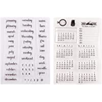 Exceart 2 Pcs Words Mixed Calendar Planner Week Month Day Clear Transparent Rubber Stamps Seal Block Stamp Sheets For…