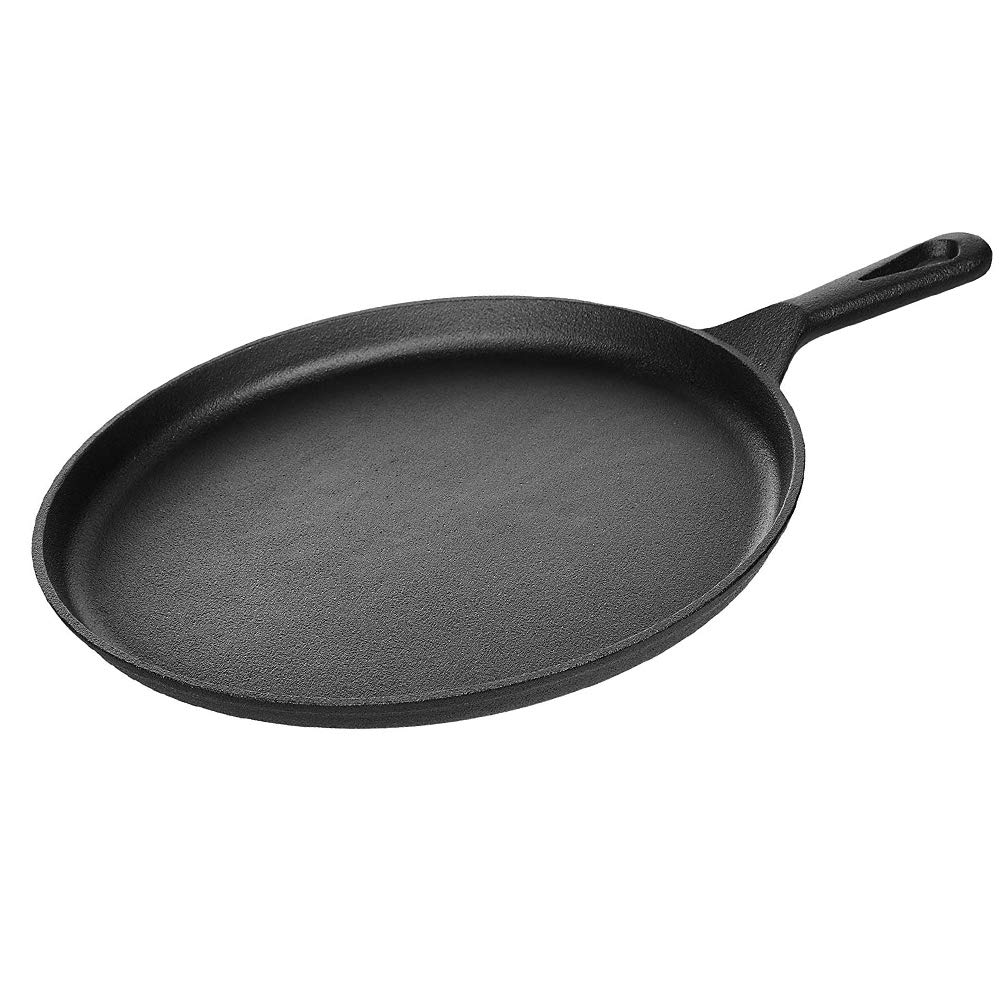 "Kookantage Cast Iron Round Griddle 10.5"" Pan - Pre-Seasoned Skillet with Handle Grip Grill or BBQ Hot Plate Pans"