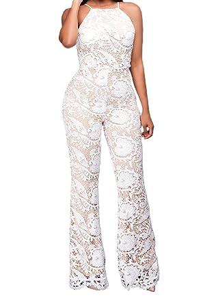 92ddf34391e0 Amazon.com  Rokiney Women Off Shoulder Ruffle High Waist Long Wide Leg  Pants Jumpsuit Romper  Clothing