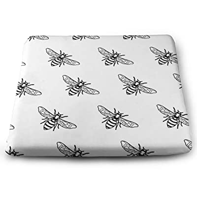 Tinmun Square Cushion, Black White Pattern Linear Bee Large Pouf Floor Pillow Cushion for Home Decor Garden Party: Home & Kitchen