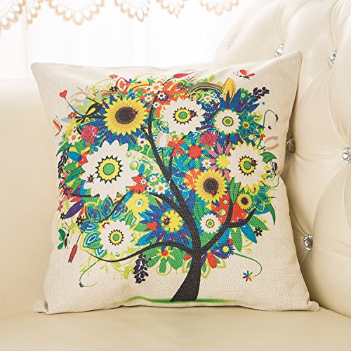Price comparison product image VYES Pastoral Style Tree of Life Cotton Linen Decorative Throw Pillow Cover Cushion Case (Colorful)