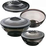 Primeway® Microwave Cookware Plastic Container Set with Lid, 650ml, 1.1 Litre, 2 Litre, Pack of 3 (Grey)