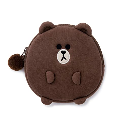 LINE FRIENDS Coin Purse - Character Cotton Money Organizer Bag Charm Keychain, Parent