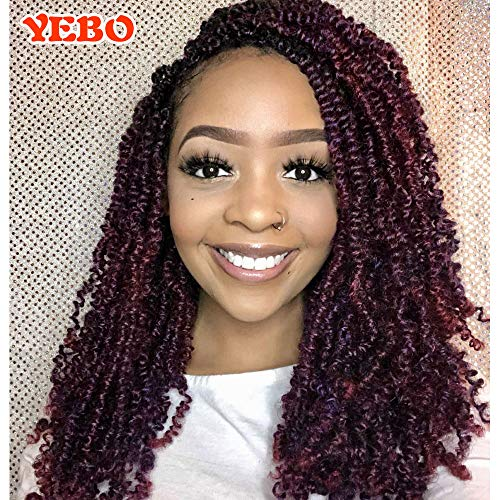 4 pack spring twist crochet braiding hair Ombre Colors Synthetic Hair Extension (Dark Light wine)