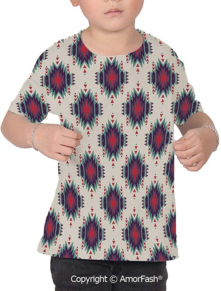 Native American Girl Regular-Fit Short-Sleeve Shirt,Personality Pattern,Colorful