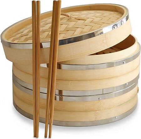 Newkeen 100 Stucke 9 Inch Perforiert Papier Bambus Dampfgarer Papier