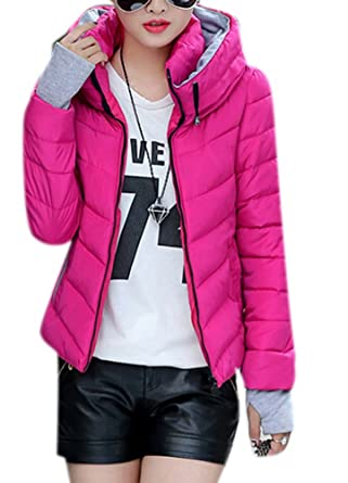 dbe6ae3d Allbebe Women's Winter Quilted Short Padded Slim Thicken Warm Coat Down  Jacket