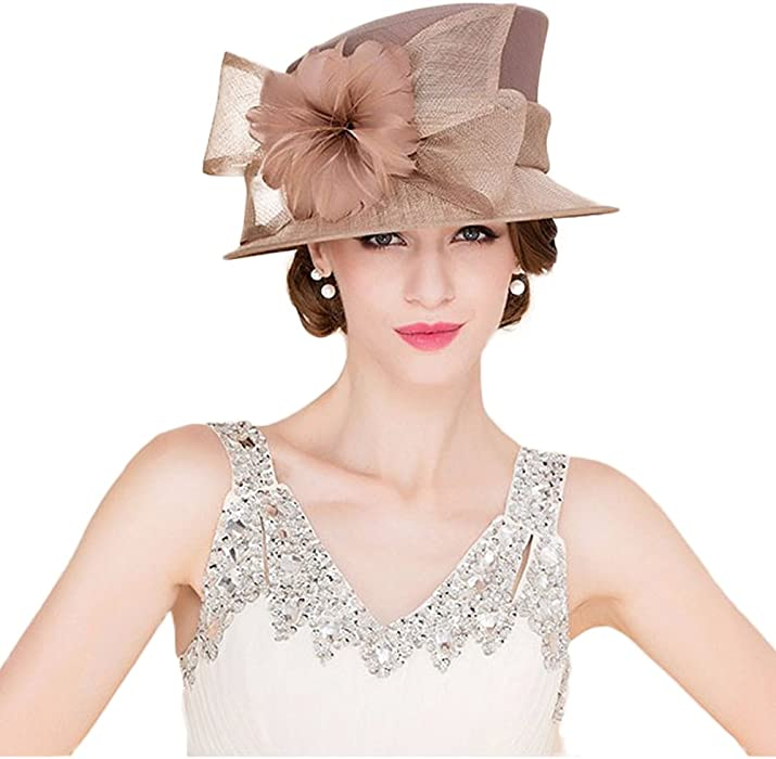 ea6cb2e5f6c Sinamay Hats Kentucky Derby Hat Wedding Dress Hat Wide Brim Feather Fedoras  at Amazon Women s Clothing store