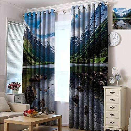 Fashion Design Print Blackout Grommet Top Curtain 120 W x 84 L, Nature, Mountains River and Open Sky Natural Beauties Norway Fjords Nordic Landscape, White Green Brown
