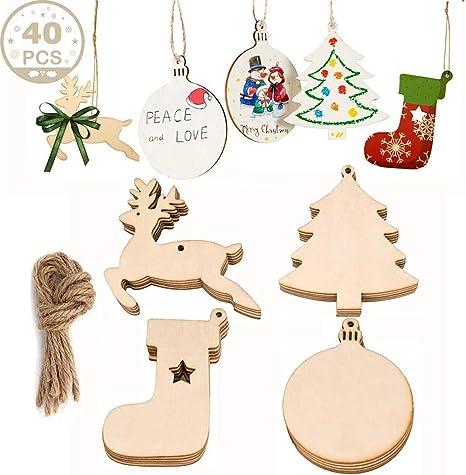 50PCS Natural Wood Chips Unique Christmas Decor Festive Party Supplies