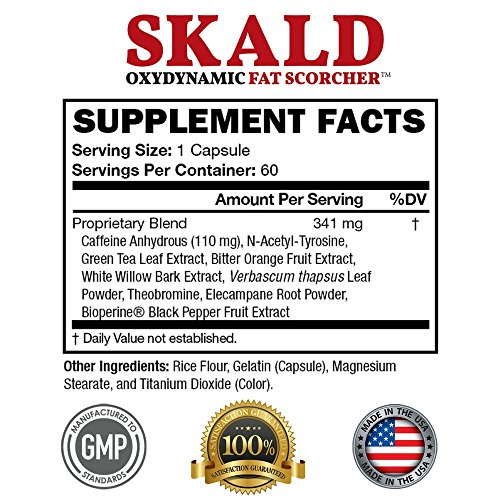 SKALD® First Fat Burner Weight Loss Pills with Repiratory Support Best Thermogenic Supplements for Men and Women Energy and Metabolism Boost Diet Product that Works Fast for Cardio and Endurance