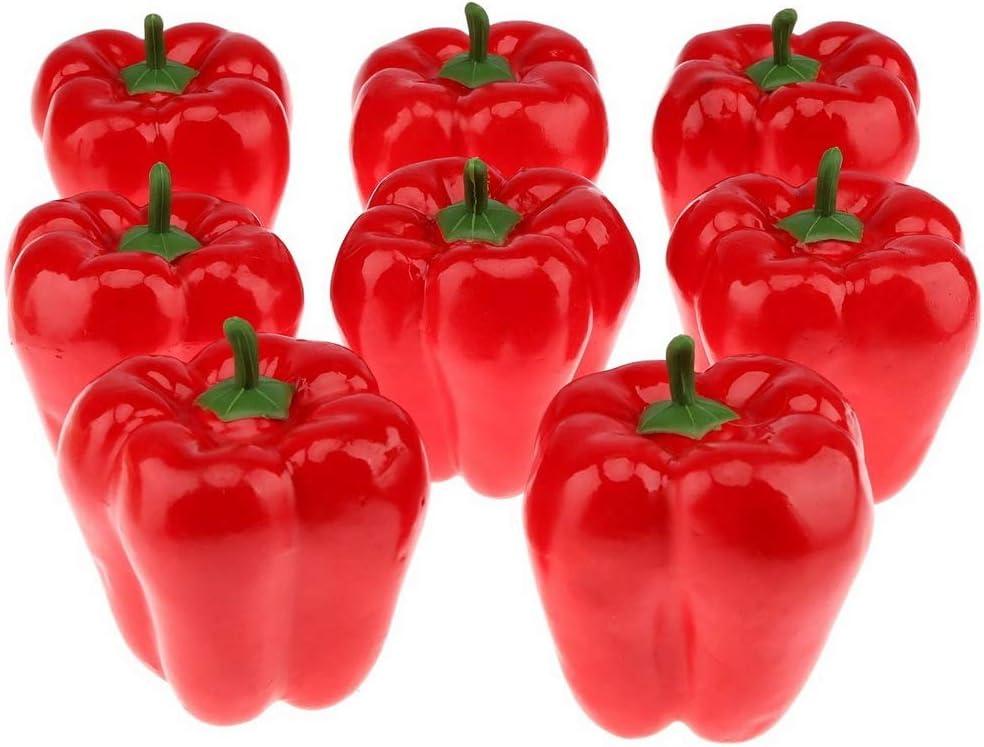 Gresorth 8pcs Artificial Big Bell Red Pepper Decoration Fake Vegetable Home Kitchen Cabinet Food Toy Model