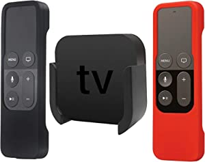 TV Mount Compatible with Apple TV 4th and 4K 5th Generation, Auswaur Wall Mount Bracket Holder Compatible with Apple TV 4th and 4K 5th Gen with Black and Red Silicone Siri Remote Protective Case Cover