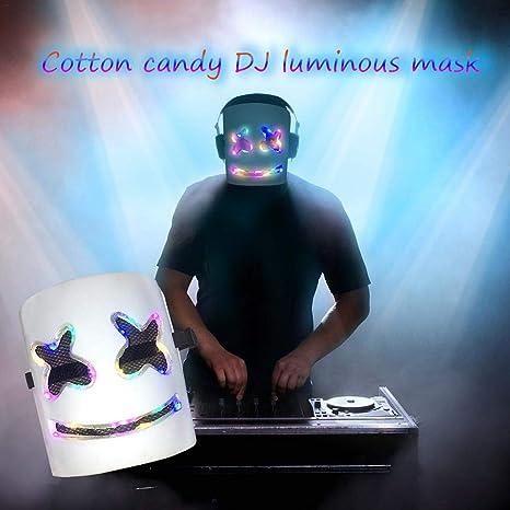 Casco LED Marshmello, máscara de DJ de rostro completo se ...
