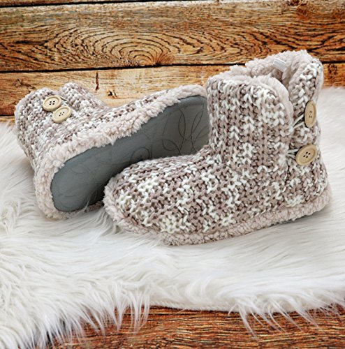 Fashion&Joy Mottled Slipper Socks Knitted Slipper Boots With Fur & Sole Chalet Style Wooden Button Winter Boots TYP491, Polyester, grey mixed, Größe 40 Beige Heather