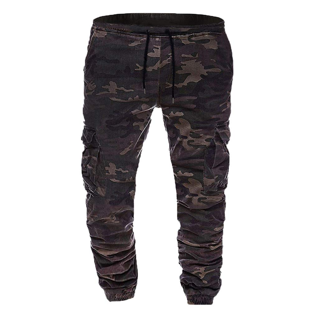 Palarn Sports Pants Casual Cargo Shorts Men Sweatpants Camouflage Casual Elastic Joggings Sport Baggy Pockets Trousers