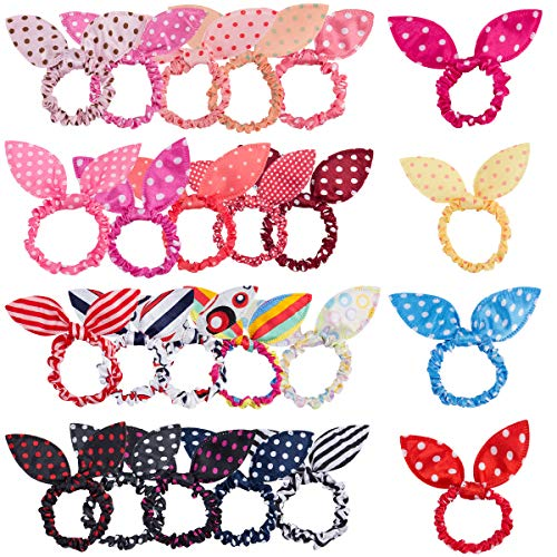 Madholly 24 pieces Girls Rabbit Ear Hair Tie Elastics Ropes Ponytail Holder