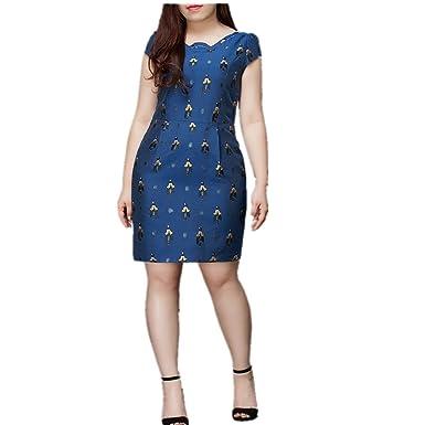 Moth De Plus Con Print Vestido Ladies Embalaje Midi Bolsa Size Azul Swing wlZuTkiOXP