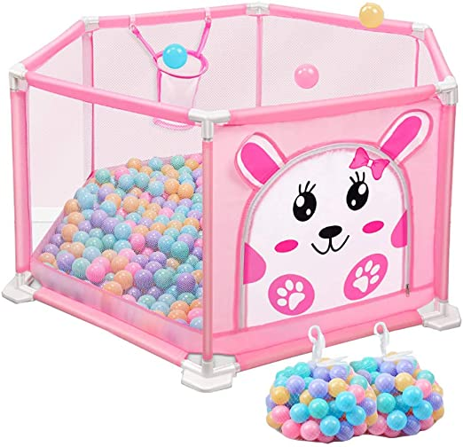 Hexagon Baby Playpen con Pelotas Antivuelco Pink Room Divider Play ...