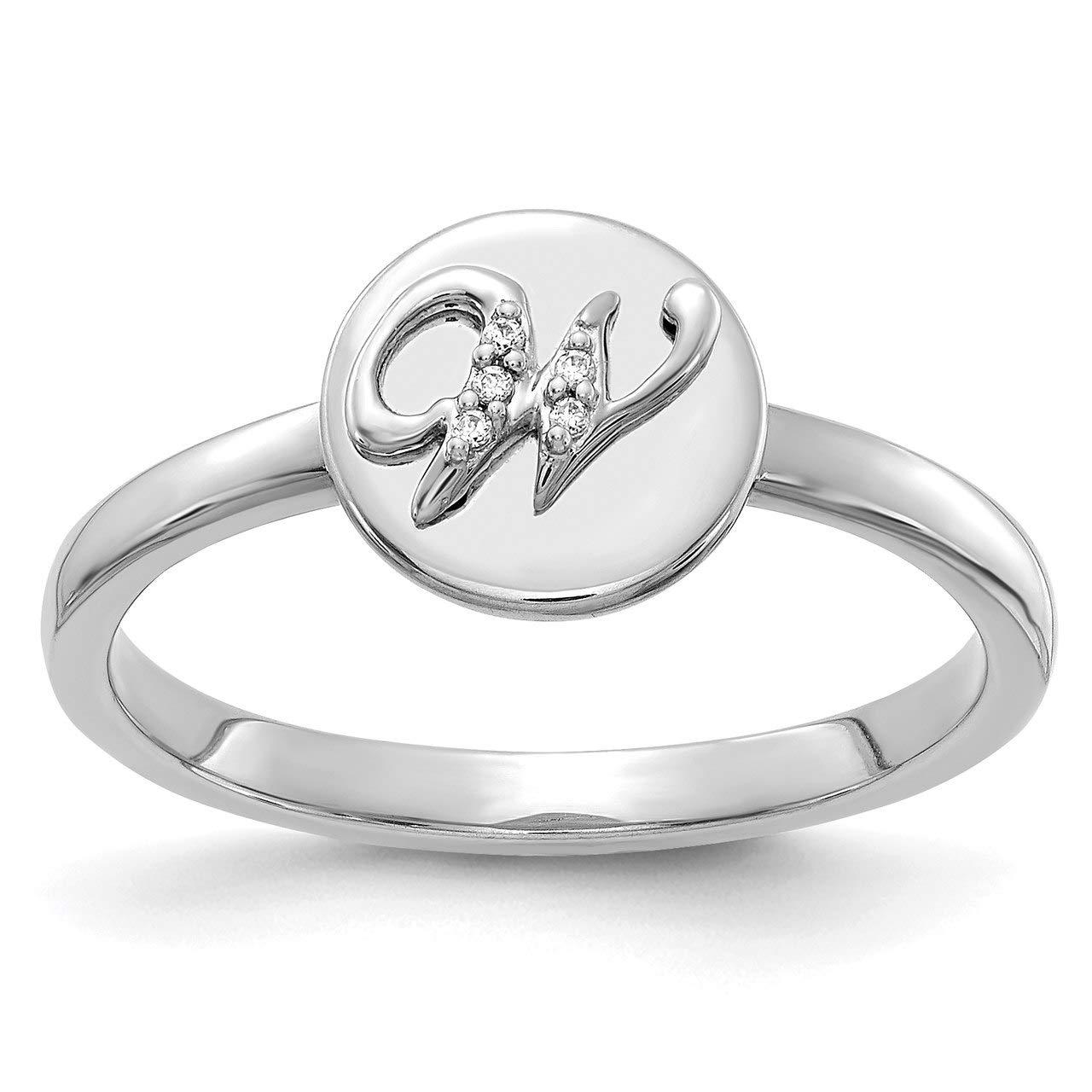 Lex & Lu 14k White Gold Diamond Initial W Ring LAL13828 Size 7-Prime