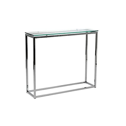 Euro Style Sandor Clear Glass Top Console Table, Chromed Steel Base