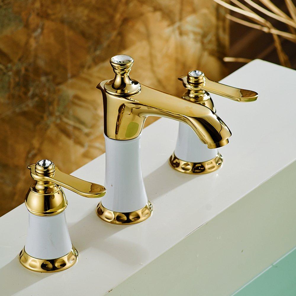 Beelee Deck Mounted Three Holes Two Handles Widespread Bathroom Sink ...
