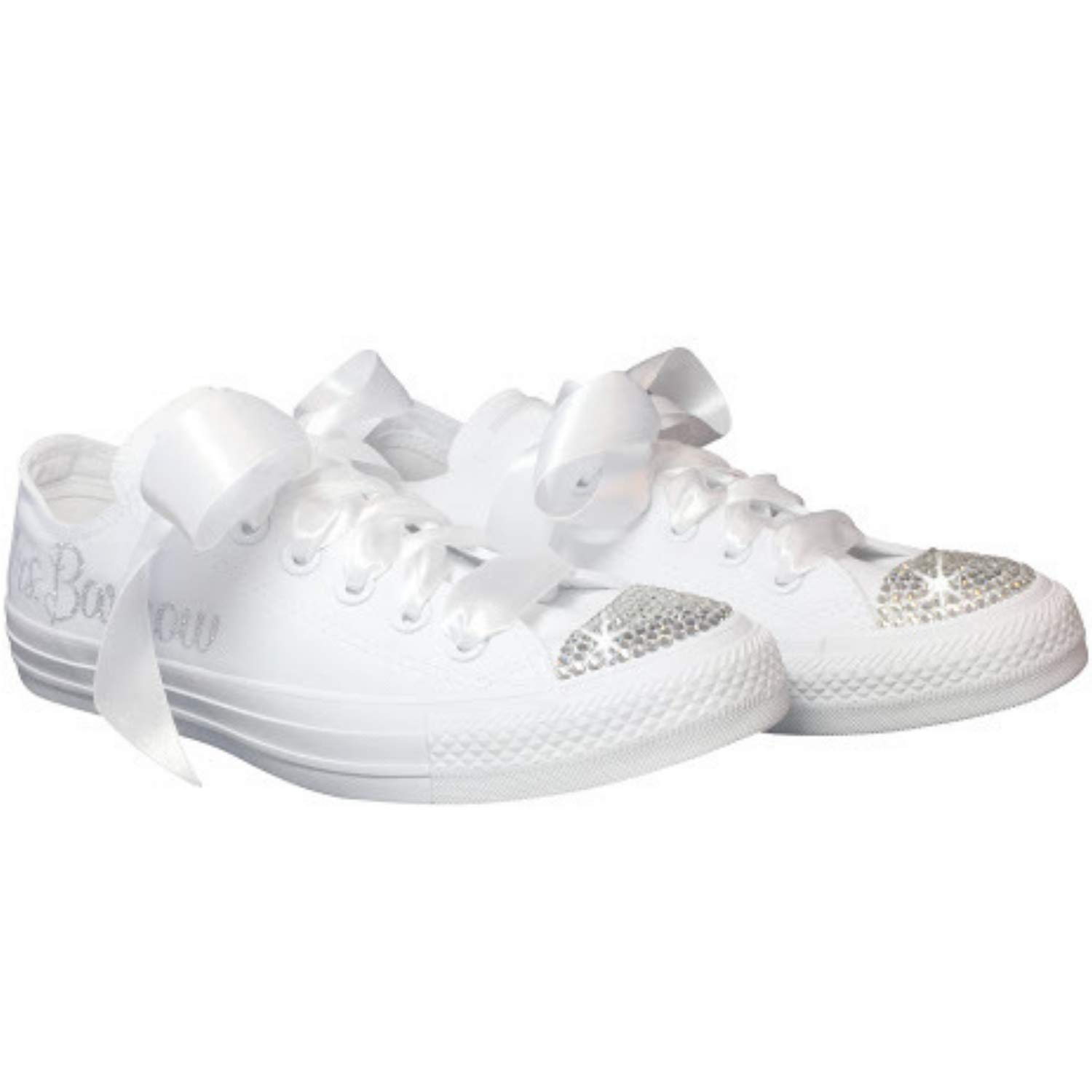 34e349f2108d Amazon.com  Wedding Sneakers BLINGED OUT Personalized CHUCKS with Swarovski  Crystals Custom for Quinceañera or Prom  Handmade