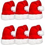 Pack de 6 sombreros de Papá Noel de terciopelo cómodo rojo de Navidad para regalos de fiesta de Navidad, apto para adultos y