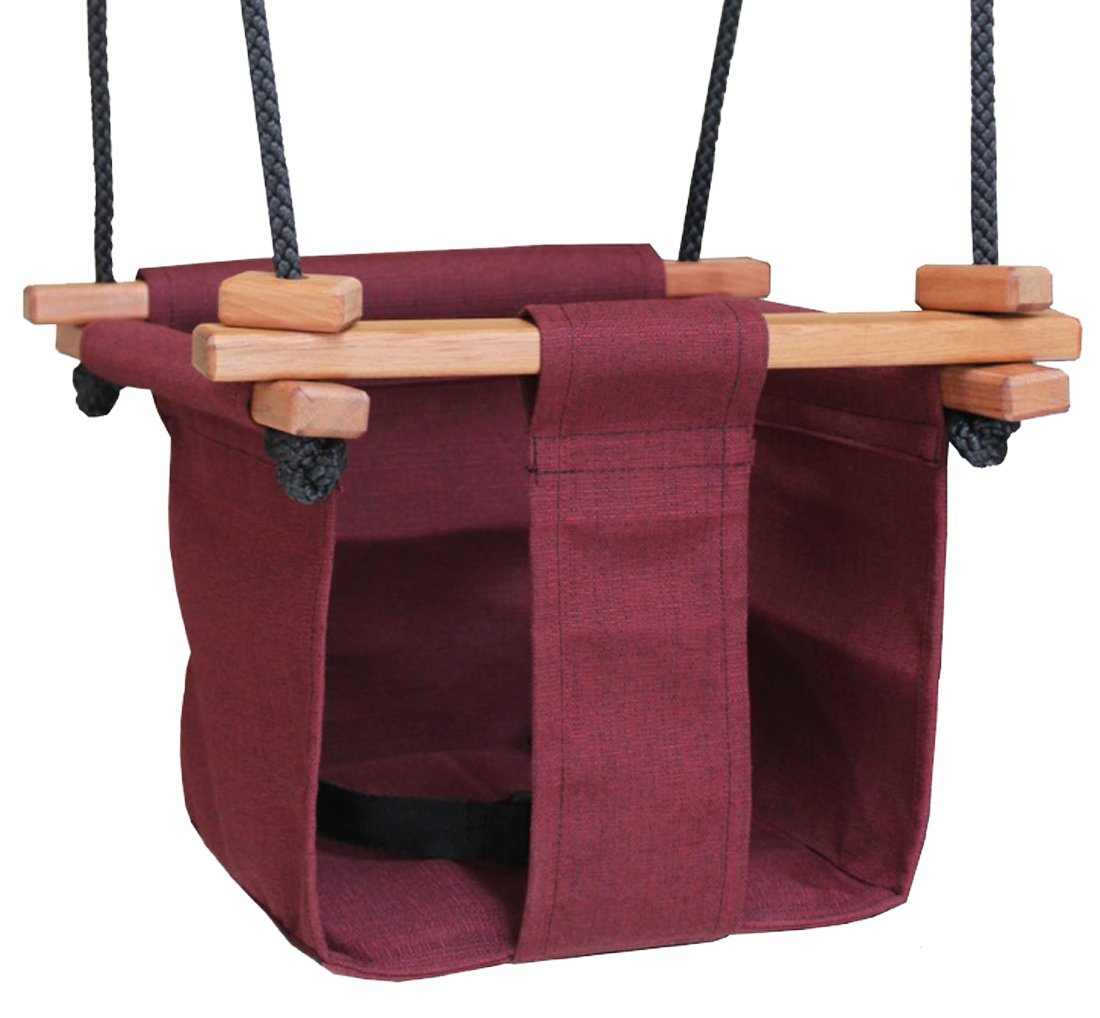Baby KEA Swing Canvas Swing For Baby and Toddler 6-36 Months Burgandy Indoor or Outdoor Wood Rope