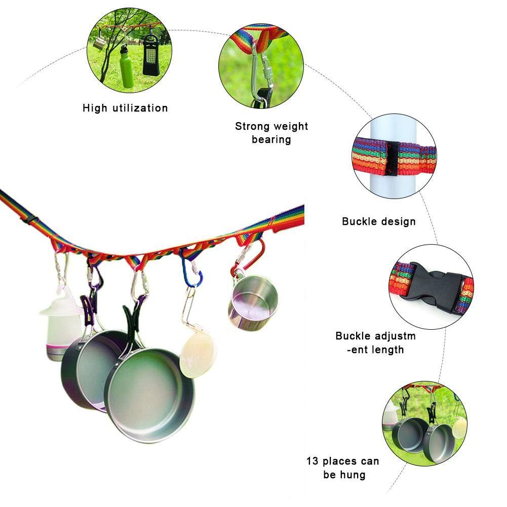 Never-hu Corde De Stockage De Corde /À Linge De Camping en Plein Air Corde Accessoires de Tente De Camping pour Camping Randonn/ée Pique-Nique Ou Utilisation /À La Maison