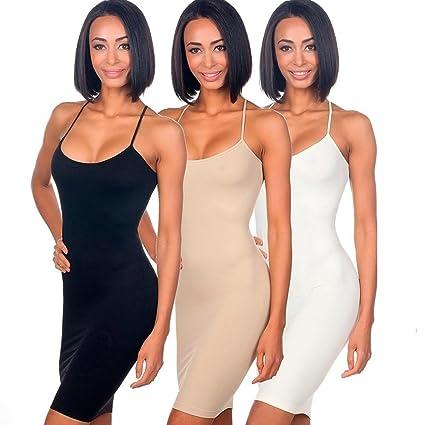 6e3940a3374 Amazon.com: 3pc Seamless Cami Tunic Dress Slip Camisole Dress ...
