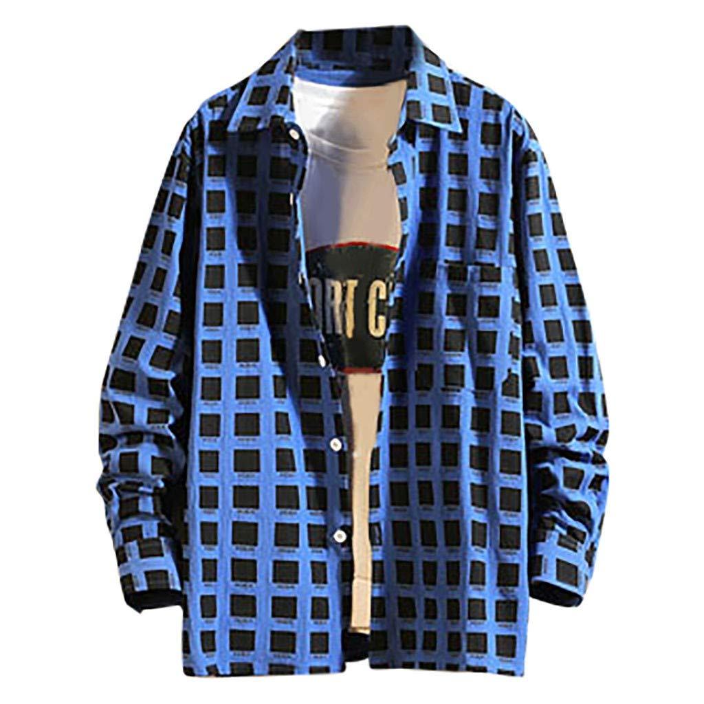 Chirpa Season, Men's Autumn New Casual Fashion Plaid Loose Lapel Long Sleeve Shirt Tops Blue