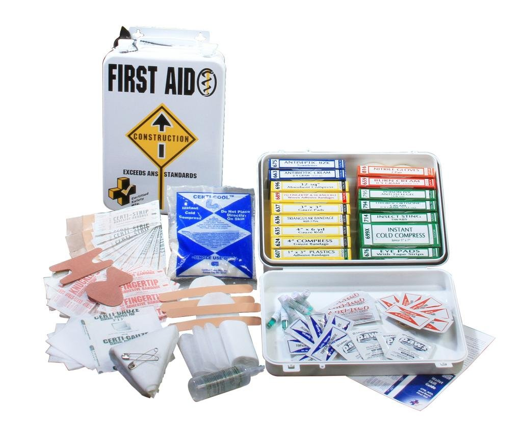 Certified Safety K209-216 16M ANSI Construction First Aid Kit in Metal