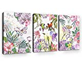 Canvas Art Tropical Plants Flowers with Butterfly Birds Painting Pictures Prints Wall Art 12'' x 16'' x 3 Pieces Canvas Prints Watercolor Fresh Style Framed Ready to Hang for Office Home Decoration