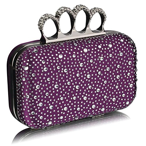 LeahWard® Beads Evening Women's Night Bag Luxury Clutch PURPLE Purse Knuckle Wedding Clutches Diamante Handbag Rings For Ceremony Out rarwfqEBx