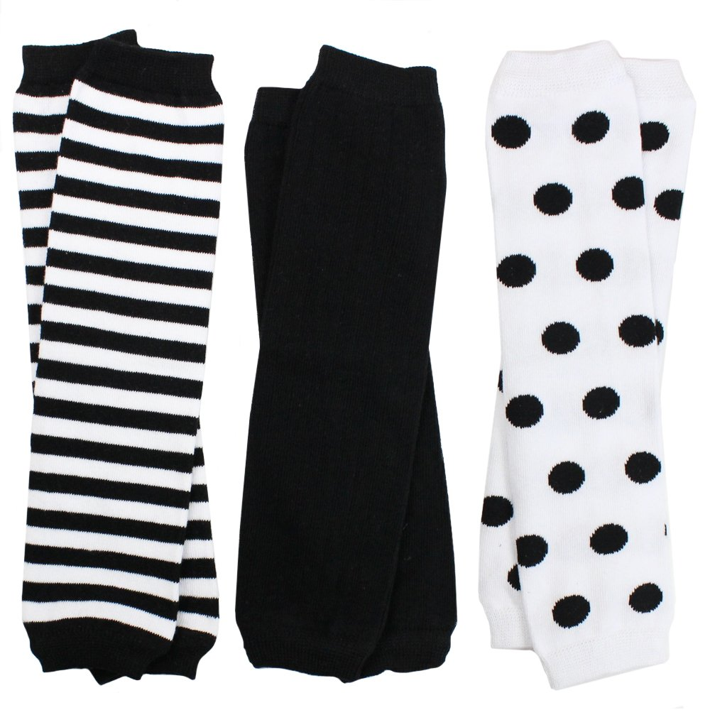 juDanzy 3 Pair Baby Boy And Girl Leg Warmers Black and White Stripes and Polka Dots