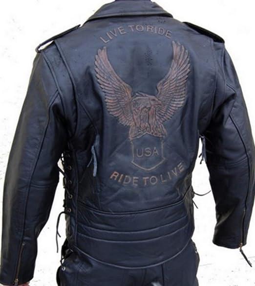 Lederjacke Leder Jacke Für Biker Chopper Mottoradjacke Motorrad Rocker Punk Auto