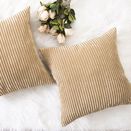 HOME BRILLIANT Spring Decor Throw Pillow Cover Decorative Soft Velvet Corduroy Striped Square Cushion Cover for Bench, Set of 2, 18 x 18 inch (45cm), Taupe (Tan Shade Textured)
