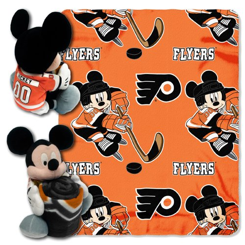 The Northwest Company Officially Licensed NHL Philadelphia Flyers Ice Warriors Co Disney's Mickey Hugger and Fleece Throw Blanket (Nhl Baby Blanket)