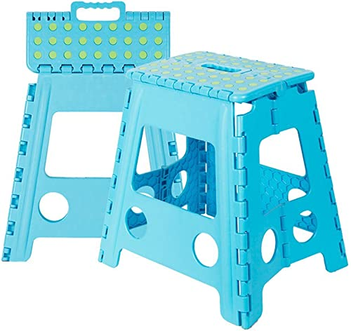 KARMAS PRODUCT Super Strong Folding Step Stool 15 in Portable Carrying Handle for Adults and Kids.Great for Kitchen Blue