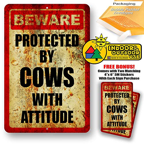 (Beware Protected by Cows with Attitude Warning Yard Tresspassing Tin Sign Indoor and Outdoor use 8