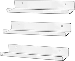 "hblife 15"" Acrylic Floating Wall Ledge Shelf, Wall Mounted Nursery Kids Bookshelf, Invisible Spice Rack, Clear 5MM Thick Bathroom Storage Shelves Display Organizer, 15"" L x 4"" D x 2"" H, Set of 3"