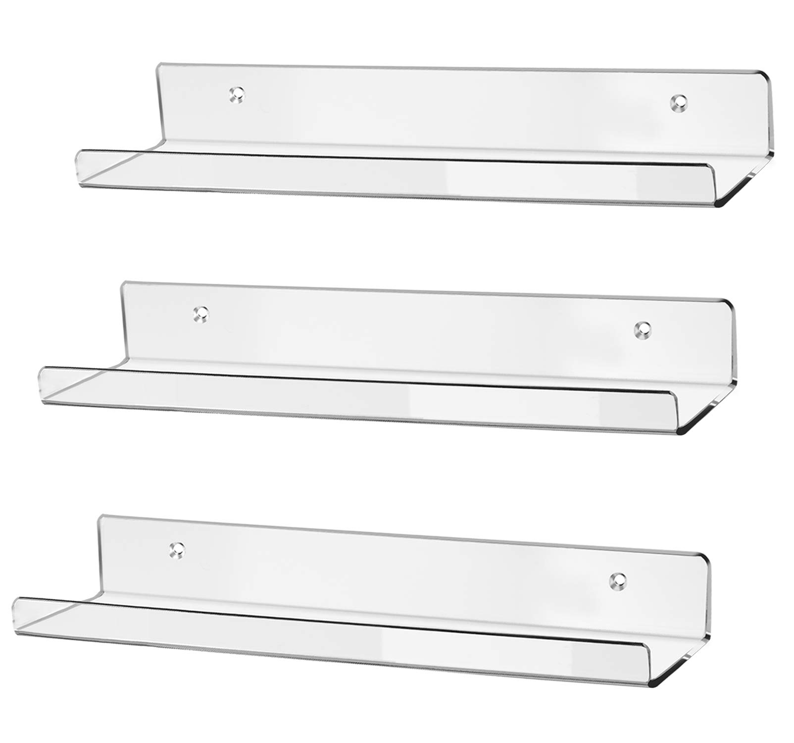 hblife 15'' Acrylic Floating Wall Ledge Shelf, Wall Mounted Nursery Kids Bookshelf, Invisible Spice Rack, Clear 5MM Thick Bathroom Storage Shelves Display Organizer, 15'' L x 4'' D x 2'' H, Set of 3