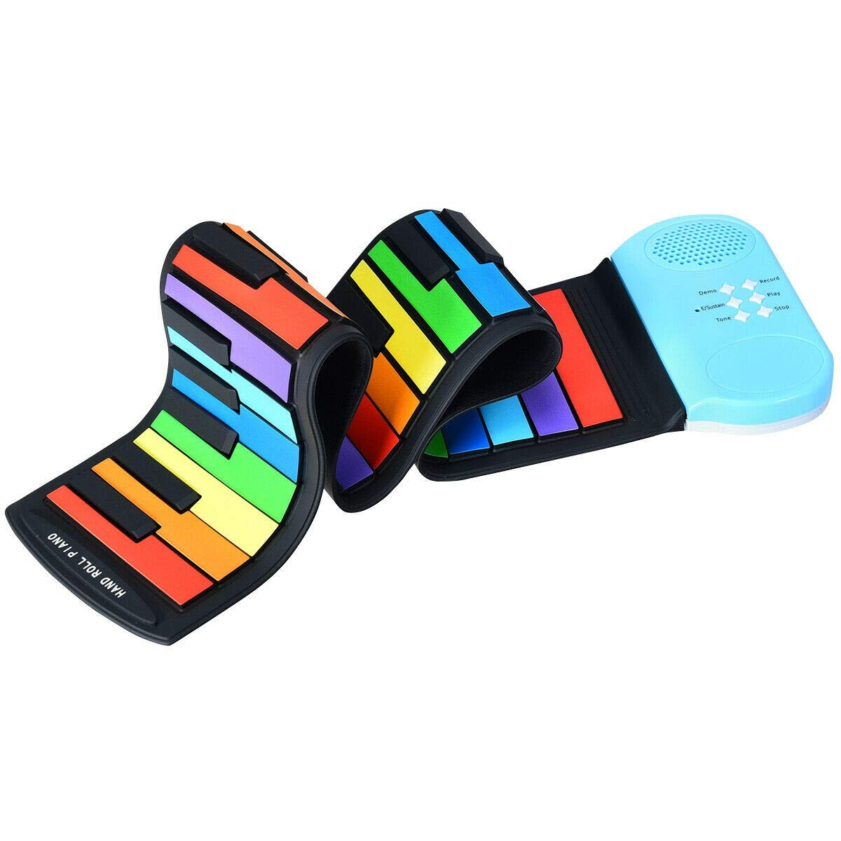 USA_Best_Seller 49-Key Roll-up Piano with Support Earphone Colorful Rainbow Home School Kindergarten Long Lasting Use Fun Game by USA_Best_Seller