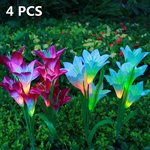 HYSHIER 4 Pack Outdoor Solar Garden Stake Lights - Solar Powered Multi-color Changing Lights with 16 Lily Flowers, Solar LED Decorative Lights for Garden, Patio, Backyard (4 Pack Lily) by HYSHIER