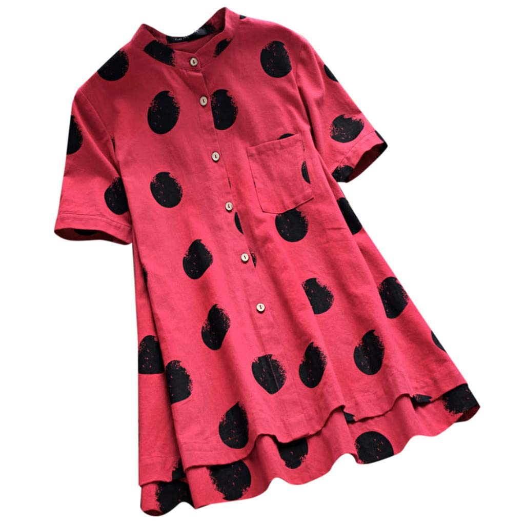Women's Blouse and Tops Plus Size Women O-Neck Button Dot Printed Short Sleeve T-Shirt Cotton Tunic Top (M, Hot Pink)