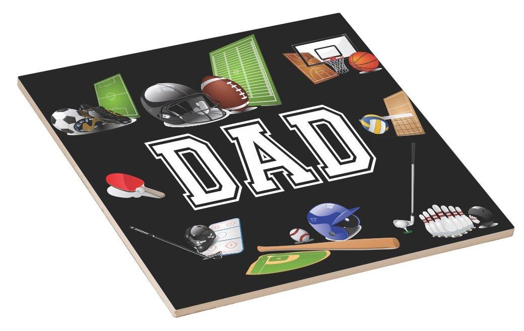 Rikki Knight 8 x 8 Dad Black All Sports-Design Ceramic Art Tile