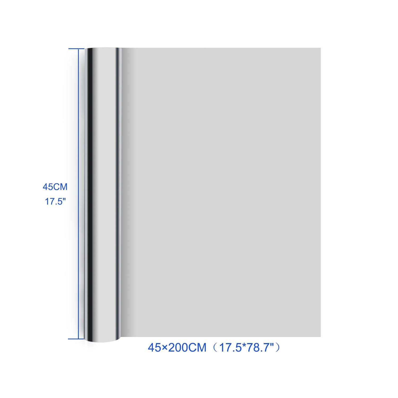 Rhodesy One Way Window Film Silver 17.5 x 78.7 Inch Anti UV Heat Control Static Cling Privacy Window Film Decorative Removable Window Tint Sun Blocking