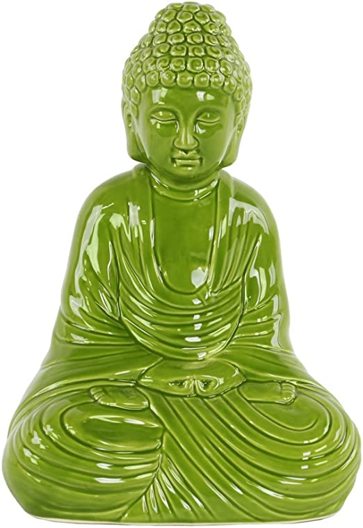 Orange Urban Trends Ceramic Sitting Buddha Figurine With Rounded Ushnisha And Head Resting On Knee In