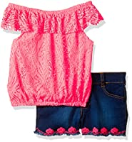 Limited Too Girls' Big Fashion Top and Short Set, 3067 Neon Coral, 10